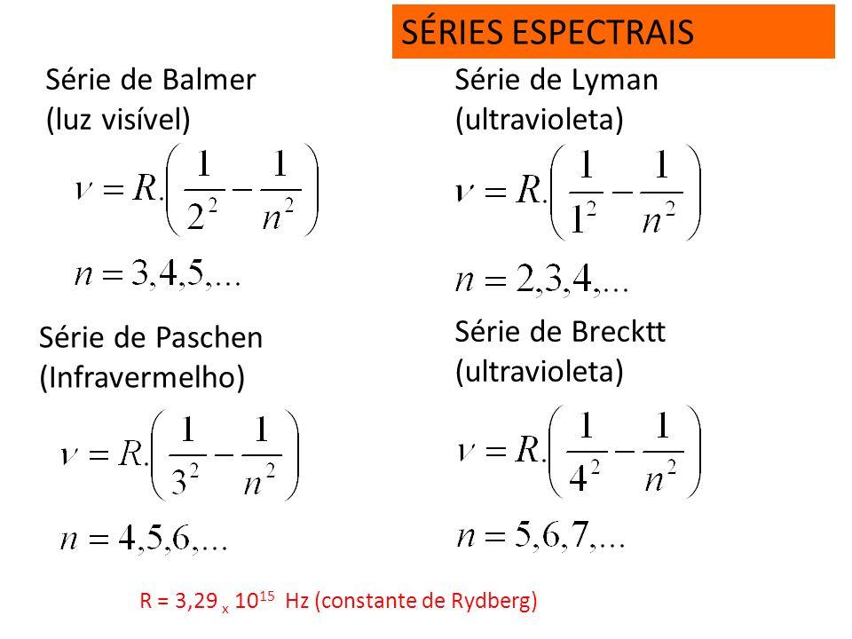 SÉRIES ESPECTRAIS Série de Balmer (luz visível) Série de Lyman
