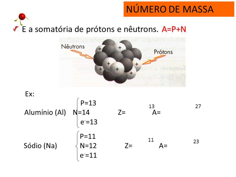 NÚMERO DE MASSA É a somatória de prótons e nêutrons. A=P+N Ex: P=13