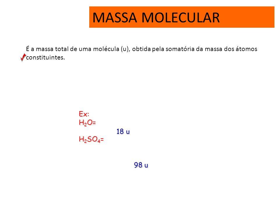 MASSA MOLECULAR É a massa total de uma molécula (u), obtida pela somatória da massa dos átomos constituintes.