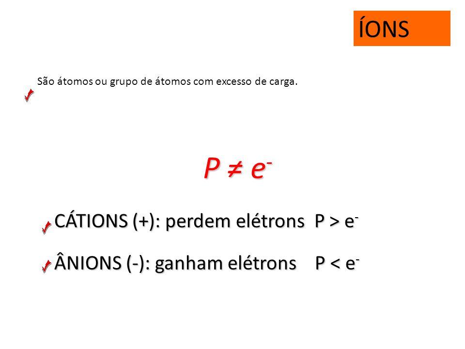 P ≠ e- ÍONS CÁTIONS (+): perdem elétrons P > e-