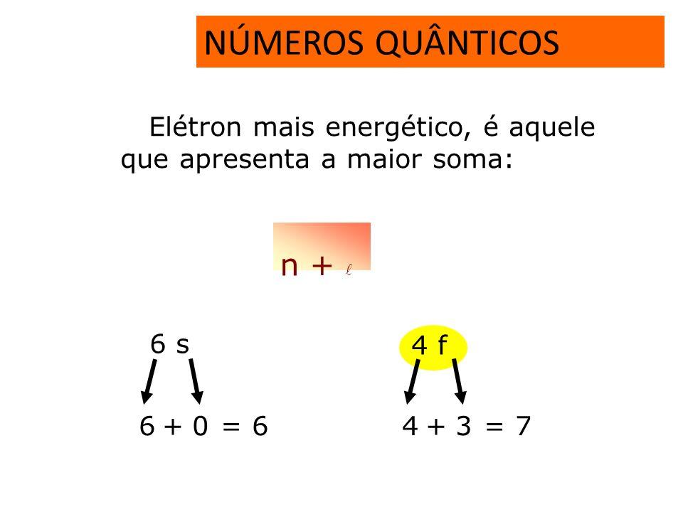 NÚMEROS QUÂNTICOS n +  Elétron mais energético, é aquele