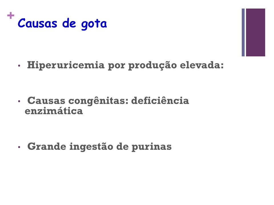 Causas de gota Hiperuricemia por produção elevada: