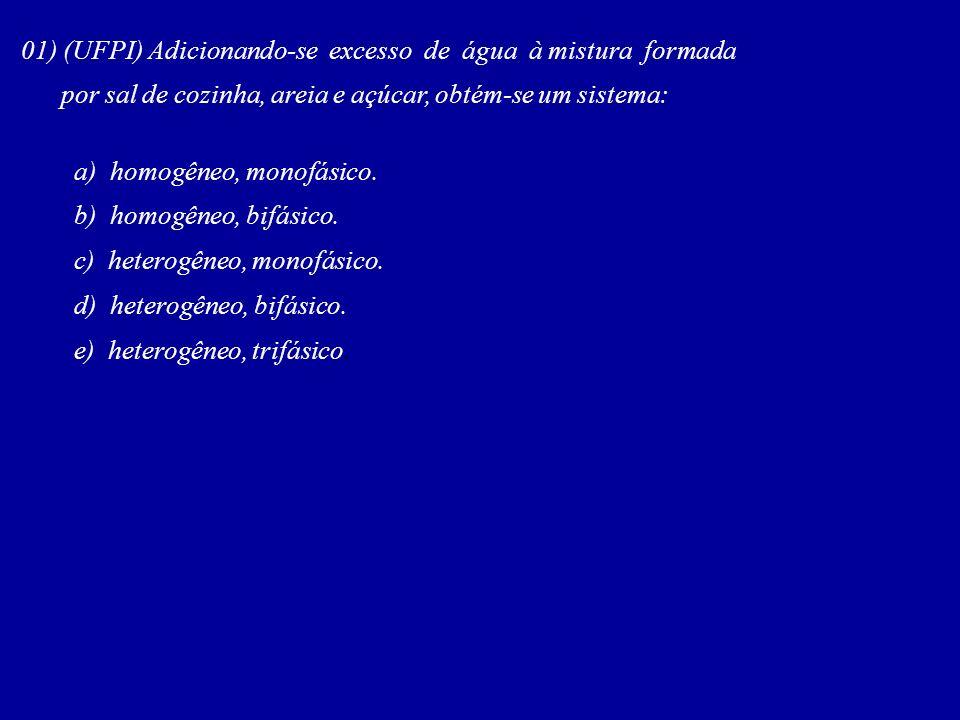 01) (UFPI) Adicionando-se excesso de água à mistura formada