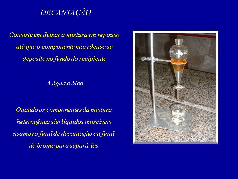 DECANTAÇÃO Consiste em deixar a mistura em repouso até que o componente mais denso se deposite no fundo do recipiente.