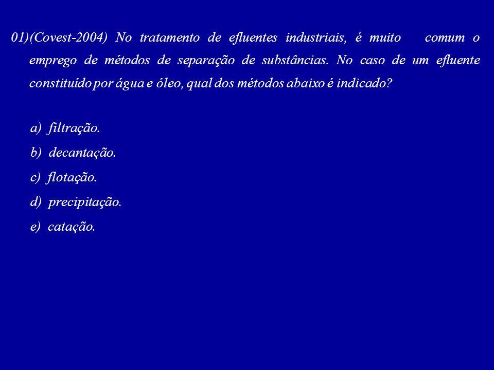 01)(Covest-2004) No tratamento de efluentes industriais, é muito comum o emprego de métodos de separação de substâncias. No caso de um efluente constituído por água e óleo, qual dos métodos abaixo é indicado