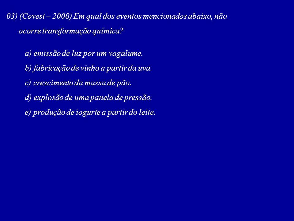 03) (Covest – 2000) Em qual dos eventos mencionados abaixo, não