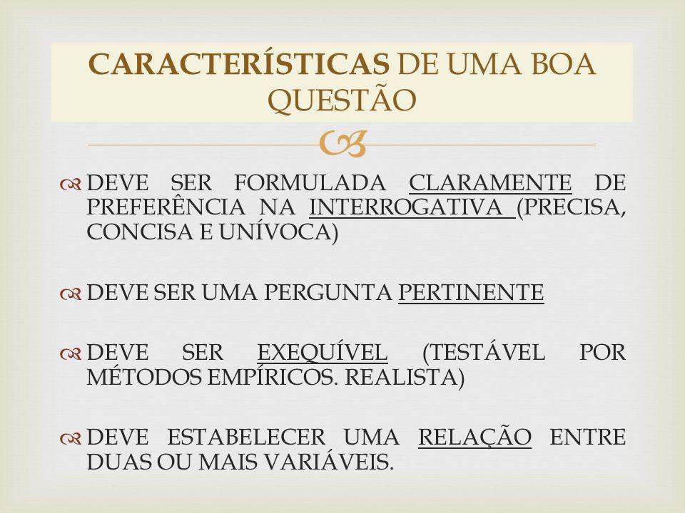 CARACTERÍSTICAS DE UMA BOA QUESTÃO