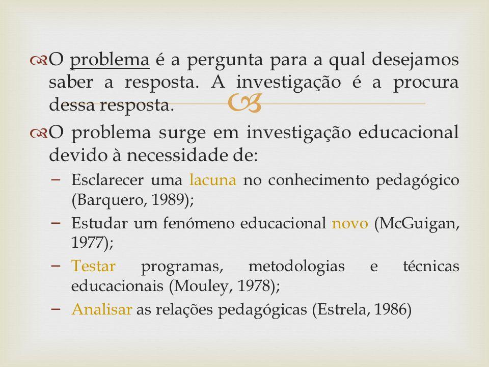 O problema surge em investigação educacional devido à necessidade de: