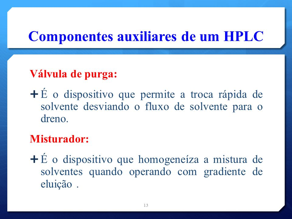 Componentes auxiliares de um HPLC
