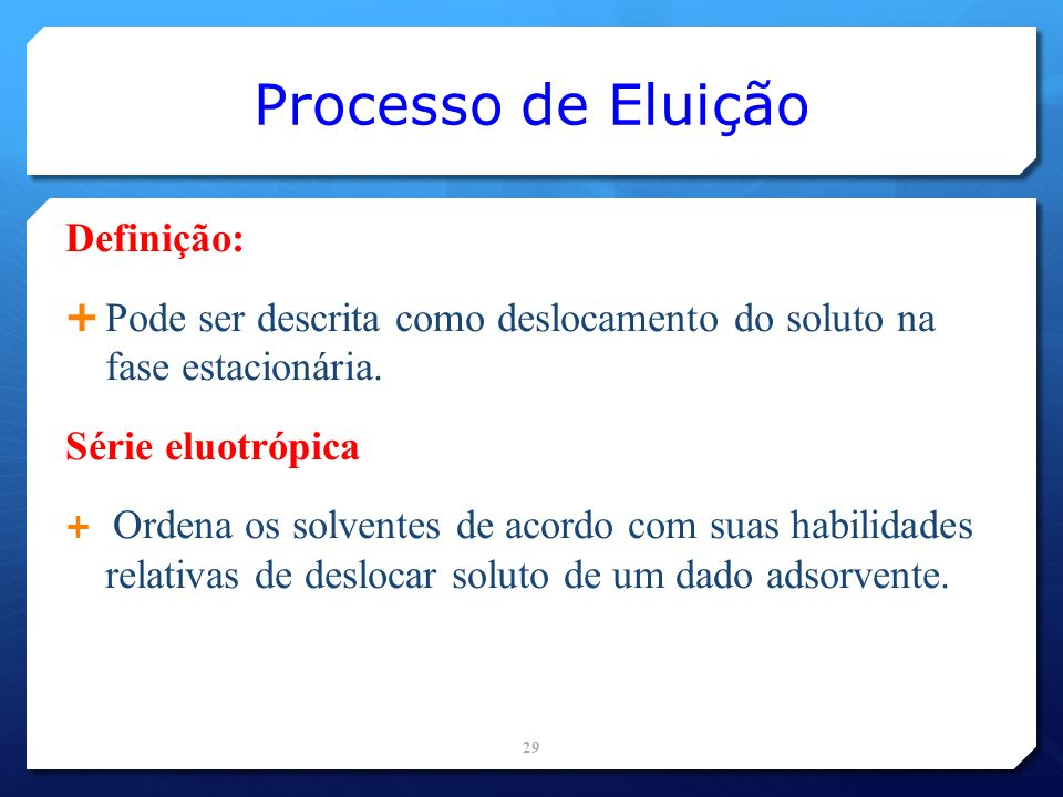 Processo de Eluição Definição: