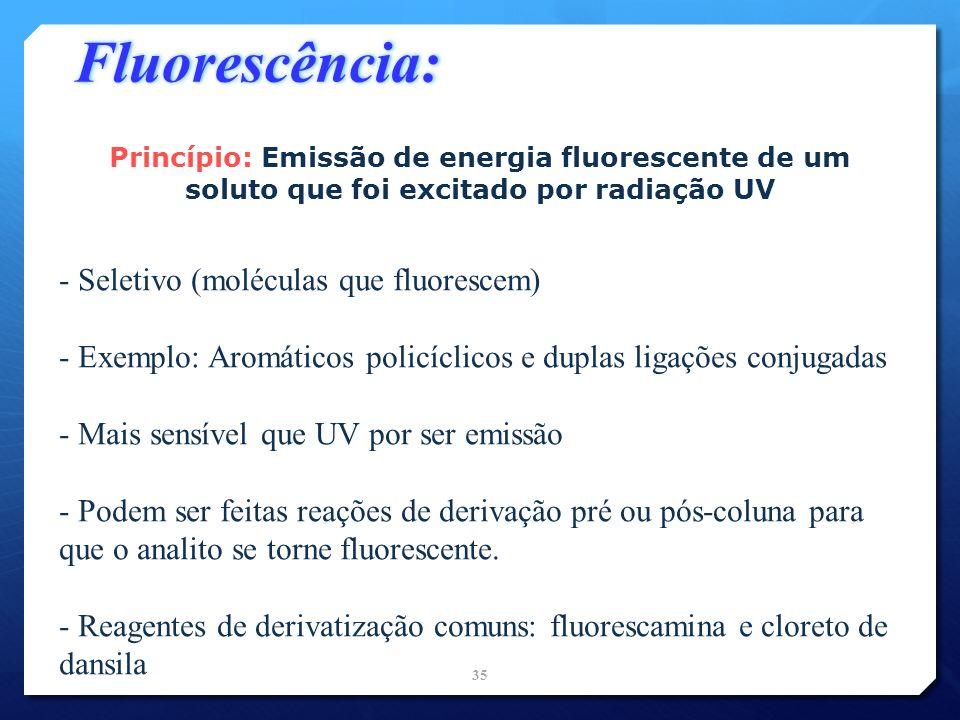 Fluorescência: Seletivo (moléculas que fluorescem)