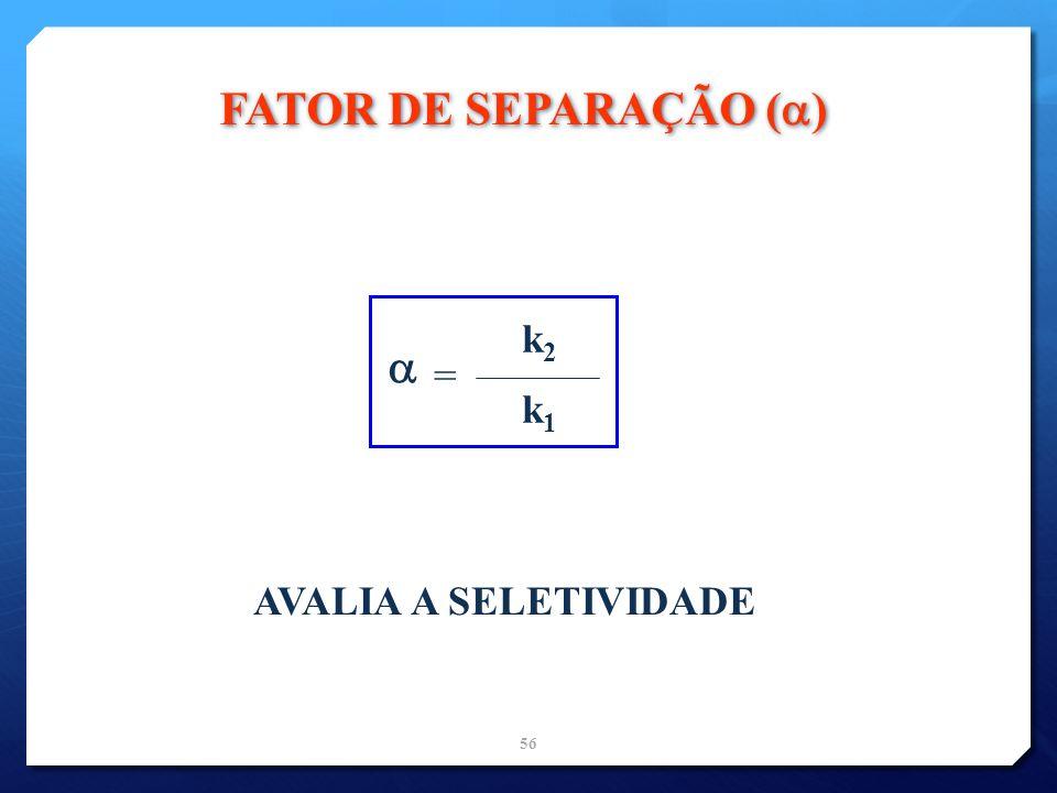 FATOR DE SEPARAÇÃO ()  k2 = k1 AVALIA A SELETIVIDADE