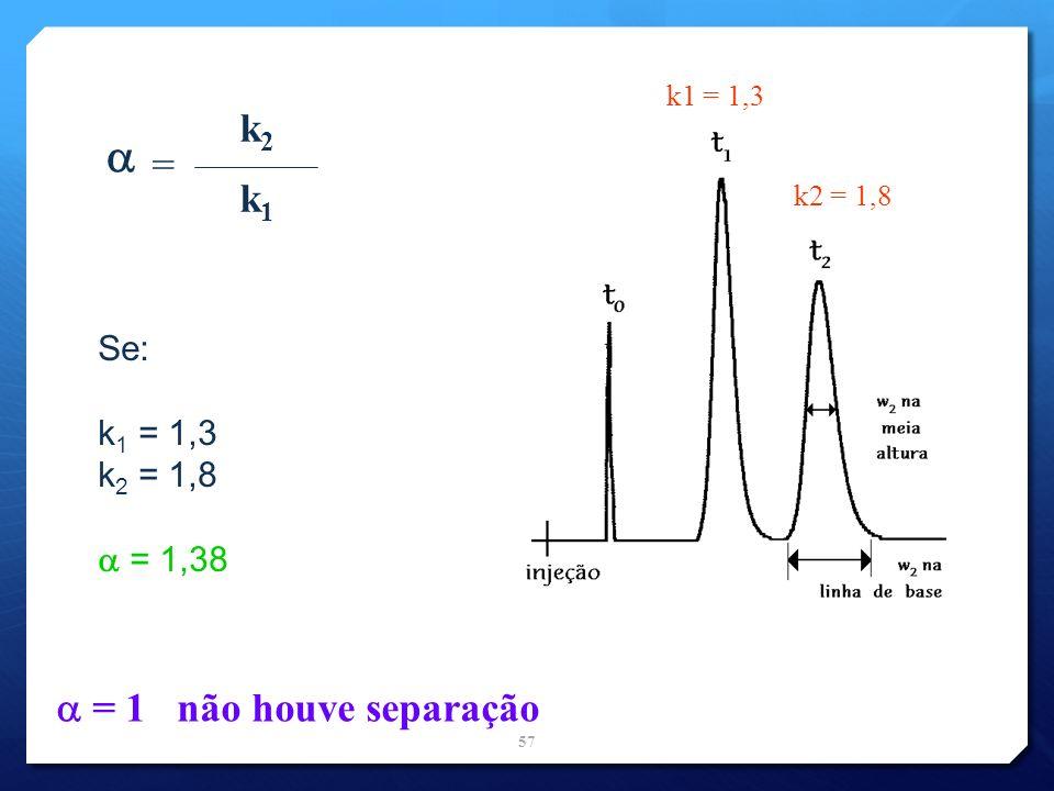  k2 = k1  = 1 não houve separação Se: k1 = 1,3 k2 = 1,8  = 1,38