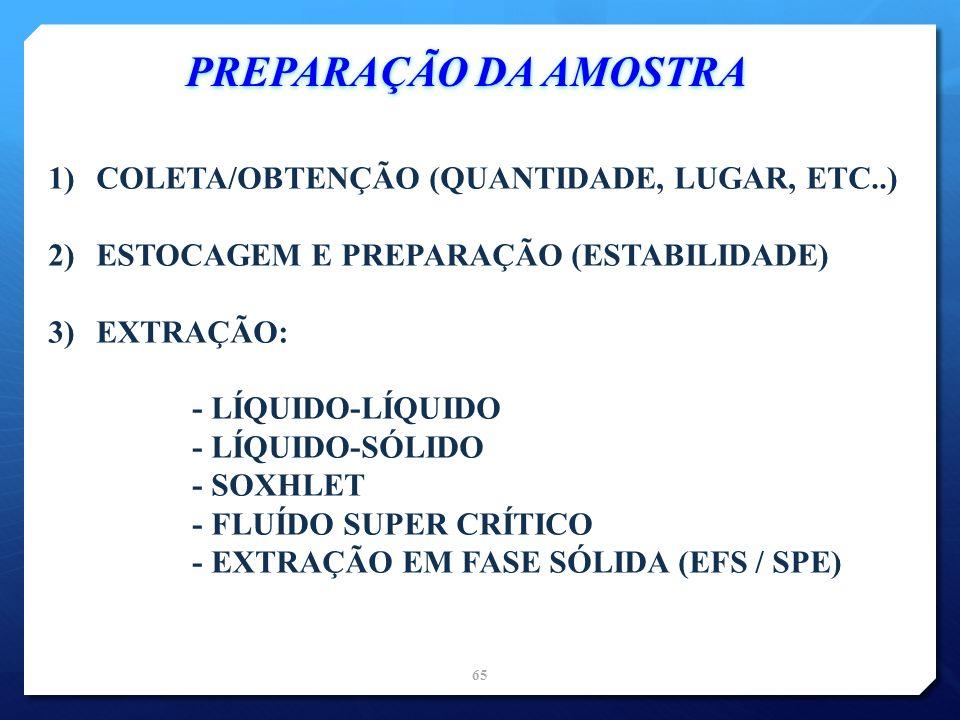 PREPARAÇÃO DA AMOSTRA COLETA/OBTENÇÃO (QUANTIDADE, LUGAR, ETC..)