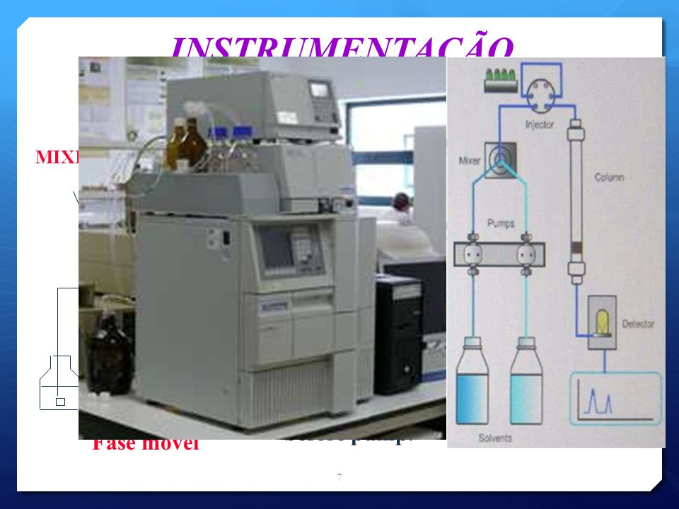 INSTRUMENTAÇÃO detector column injector oven pump One pump used to