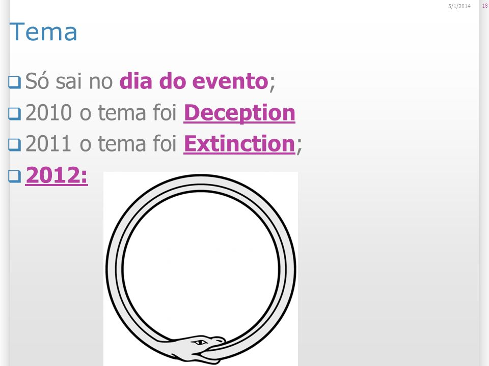 Tema Só sai no dia do evento; 2010 o tema foi Deception