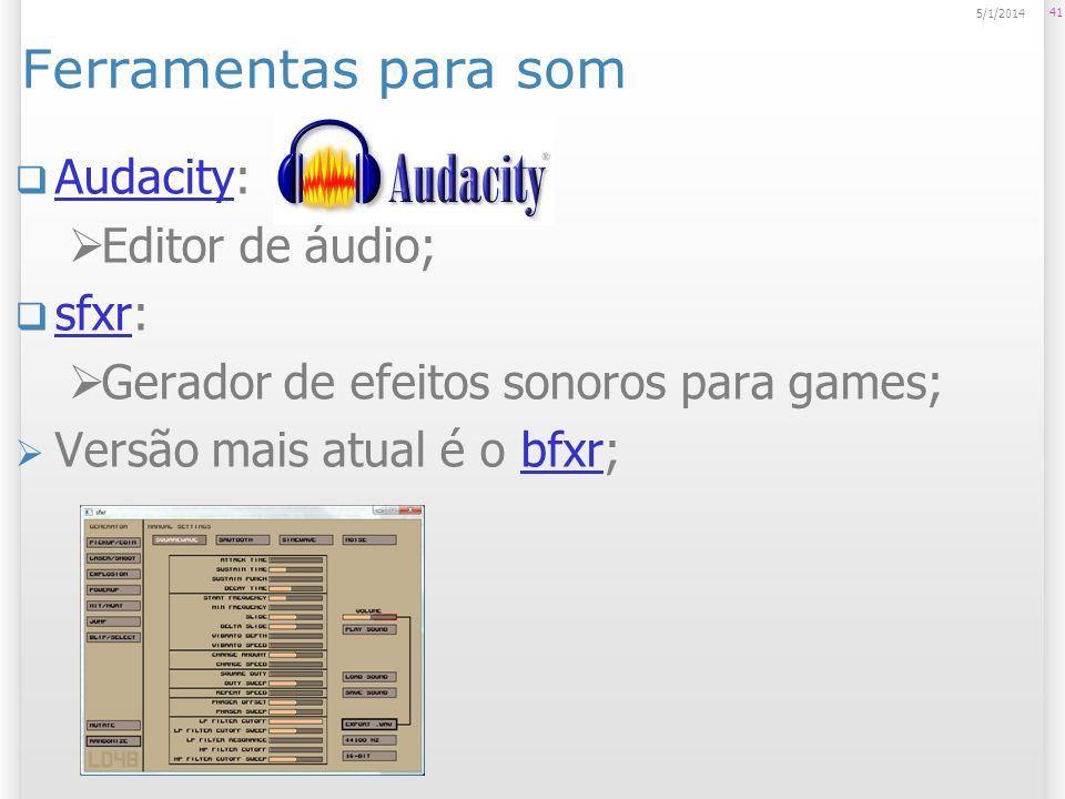 Ferramentas para som Audacity: Editor de áudio; sfxr: