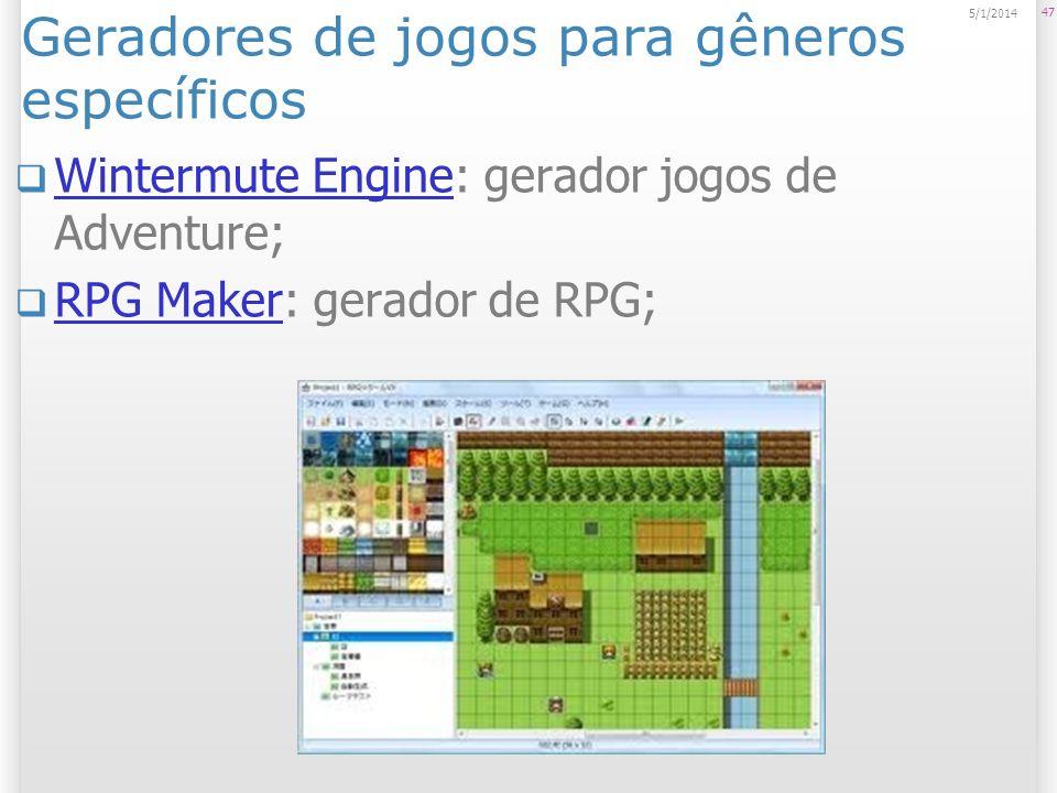 Geradores de jogos para gêneros específicos