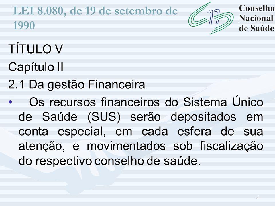LEI 8.080, de 19 de setembro de 1990 TÍTULO V. Capítulo II. 2.1 Da gestão Financeira.