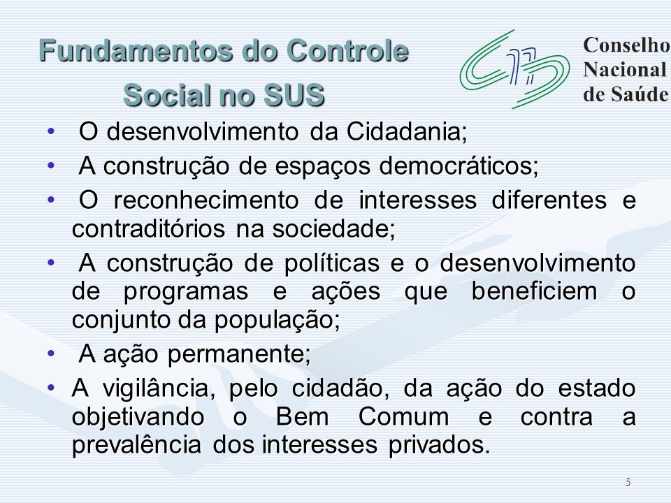 Fundamentos do Controle Social no SUS