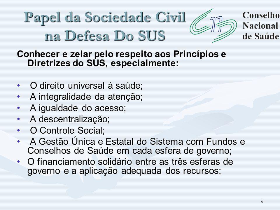 Papel da Sociedade Civil na Defesa Do SUS