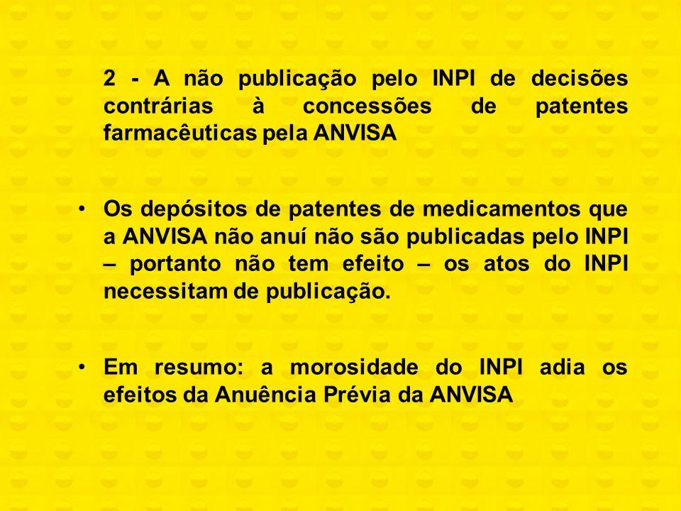 2 - A não publicação pelo INPI de decisões contrárias à concessões de patentes farmacêuticas pela ANVISA