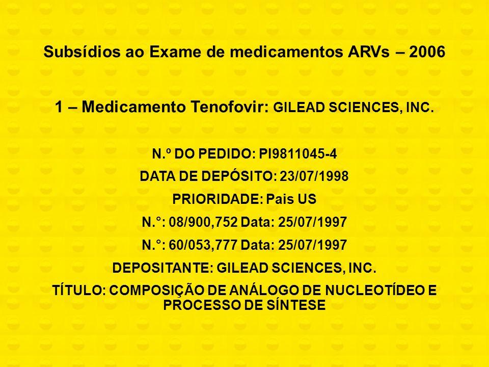 Subsídios ao Exame de medicamentos ARVs – 2006