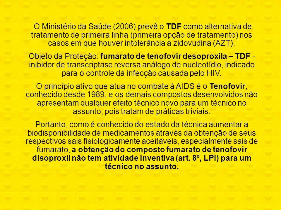 O Ministério da Saúde (2006) prevê o TDF como alternativa de tratamento de primeira linha (primeira opção de tratamento) nos casos em que houver intolerância a zidovudina (AZT).