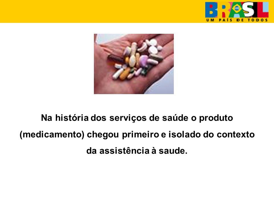 Na história dos serviços de saúde o produto (medicamento) chegou primeiro e isolado do contexto da assistência à saude.