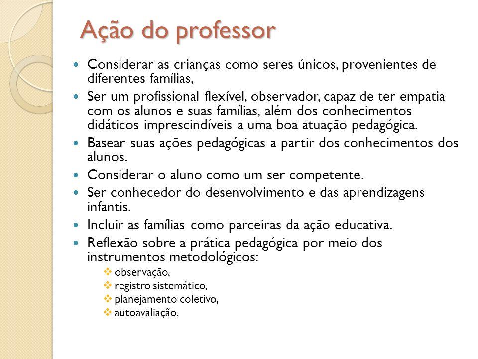 Ação do professor Considerar as crianças como seres únicos, provenientes de diferentes famílias,