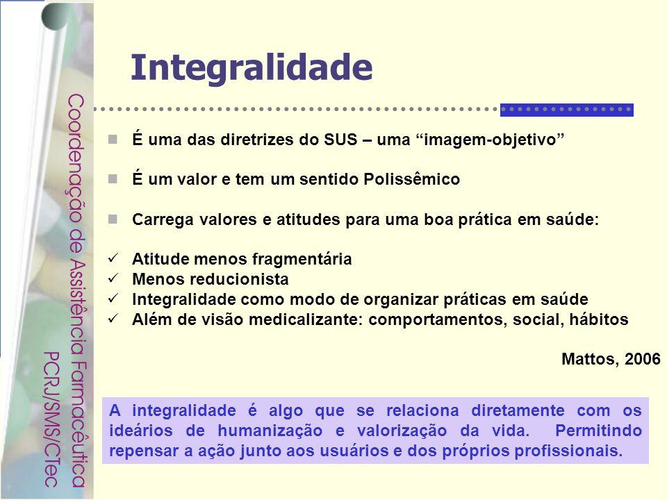 Integralidade É uma das diretrizes do SUS – uma imagem-objetivo