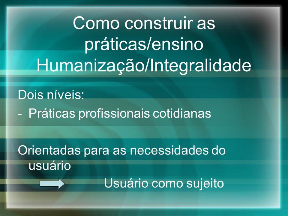 Como construir as práticas/ensino Humanização/Integralidade
