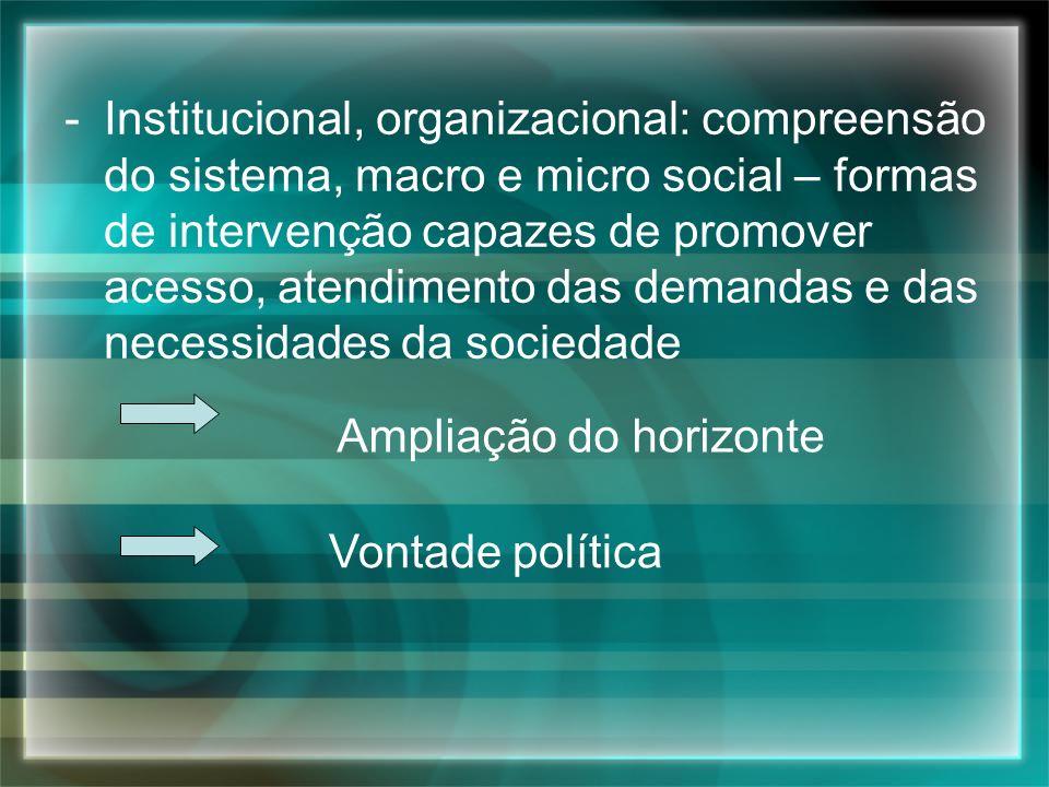 Institucional, organizacional: compreensão do sistema, macro e micro social – formas de intervenção capazes de promover acesso, atendimento das demandas e das necessidades da sociedade
