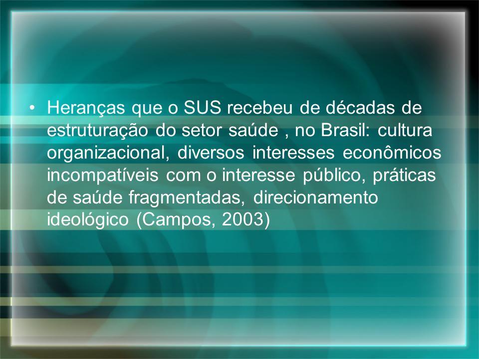 Heranças que o SUS recebeu de décadas de estruturação do setor saúde , no Brasil: cultura organizacional, diversos interesses econômicos incompatíveis com o interesse público, práticas de saúde fragmentadas, direcionamento ideológico (Campos, 2003)