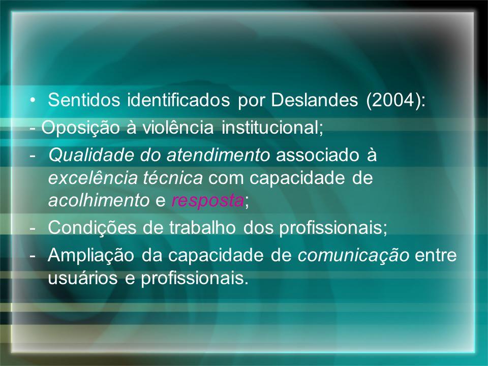 Sentidos identificados por Deslandes (2004):