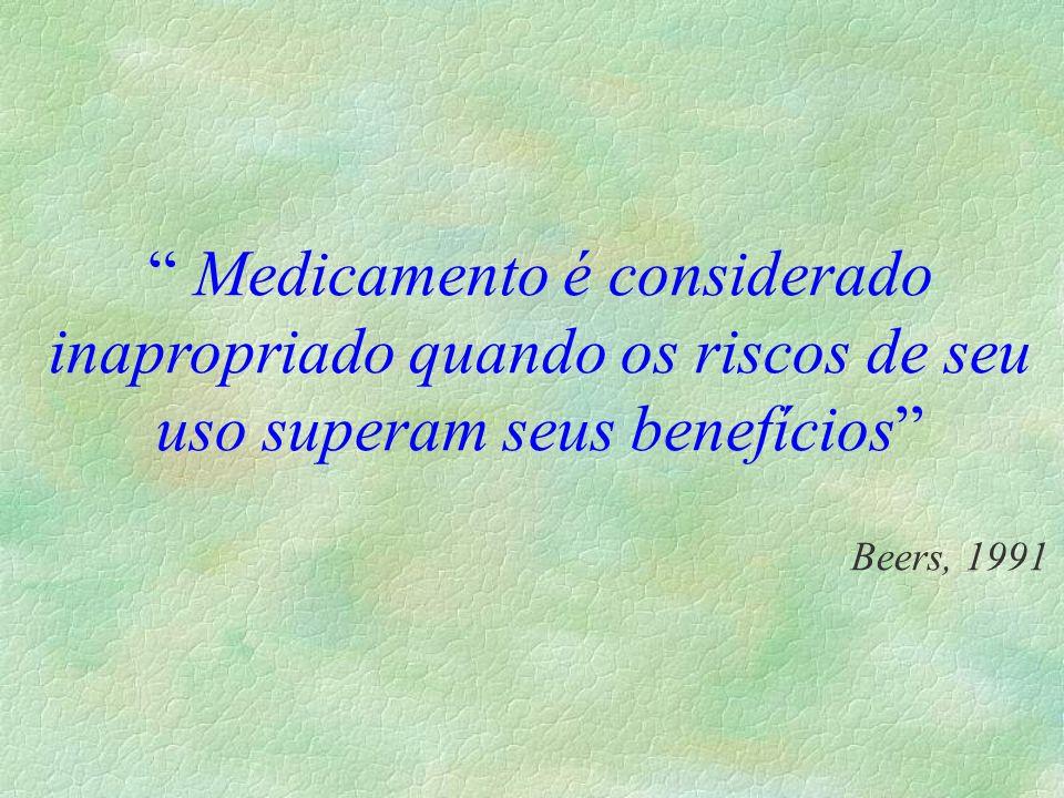 Medicamento é considerado inapropriado quando os riscos de seu uso superam seus benefícios