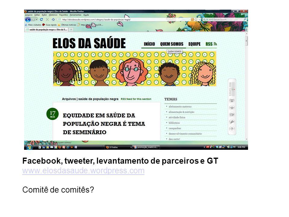 Facebook, tweeter, levantamento de parceiros e GT