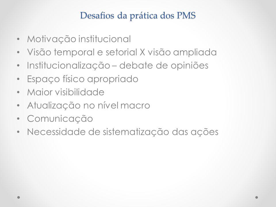 Desafios da prática dos PMS
