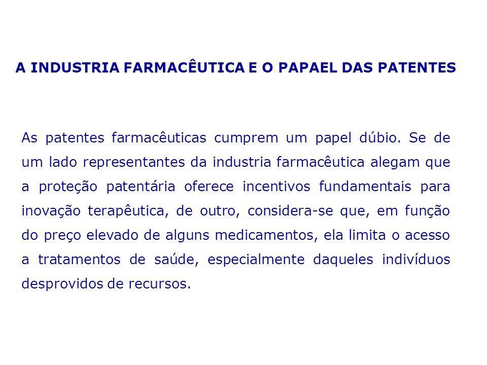 A INDUSTRIA FARMACÊUTICA E O PAPAEL DAS PATENTES