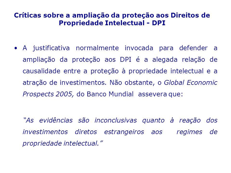 Críticas sobre a ampliação da proteção aos Direitos de Propriedade Intelectual - DPI