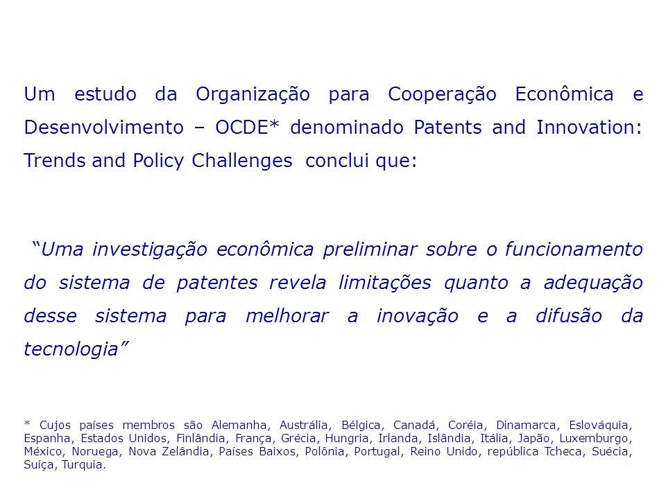 Um estudo da Organização para Cooperação Econômica e Desenvolvimento – OCDE* denominado Patents and Innovation: Trends and Policy Challenges conclui que: