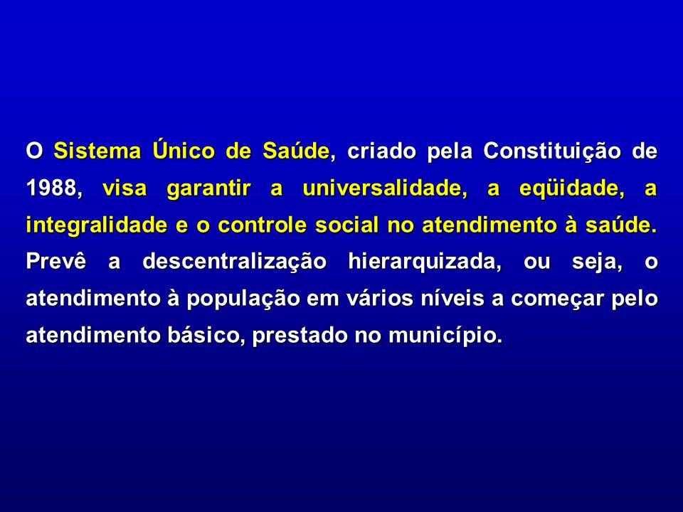 O Sistema Único de Saúde, criado pela Constituição de 1988, visa garantir a universalidade, a eqüidade, a integralidade e o controle social no atendimento à saúde.