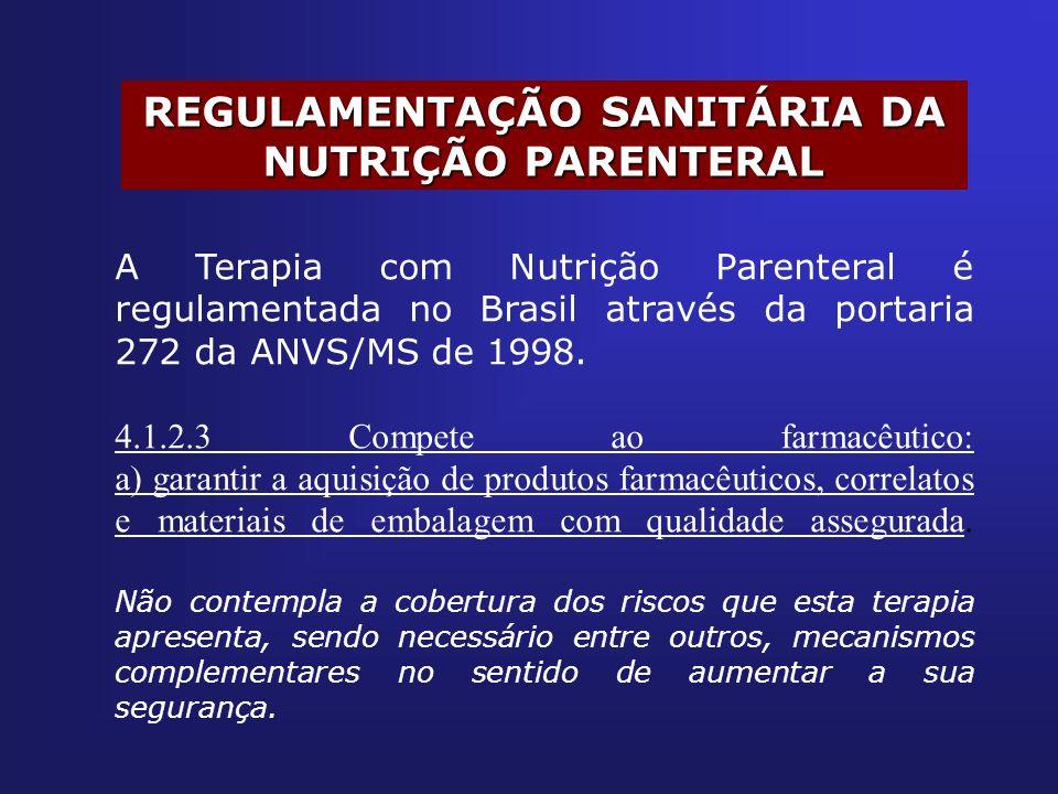 REGULAMENTAÇÃO SANITÁRIA DA NUTRIÇÃO PARENTERAL