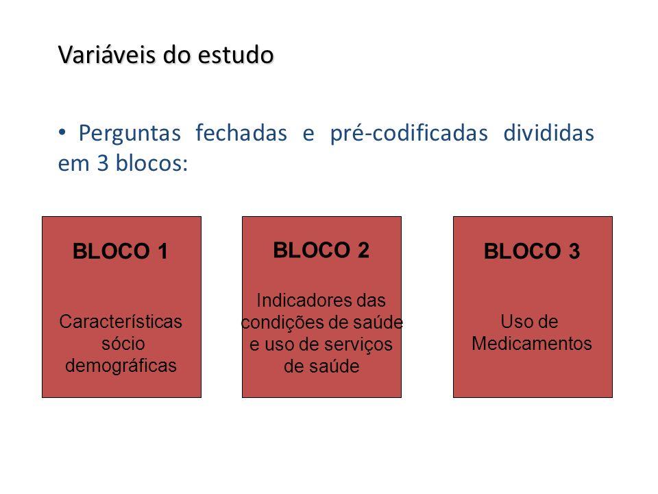 Variáveis do estudo Perguntas fechadas e pré-codificadas divididas em 3 blocos: BLOCO 1. Características.