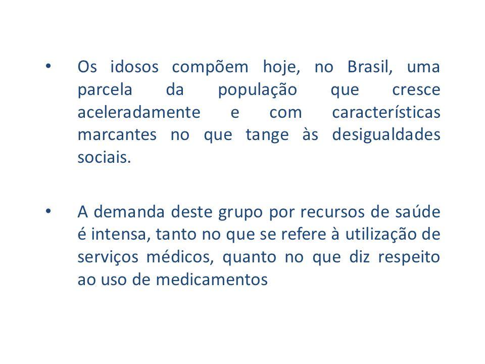 Os idosos compõem hoje, no Brasil, uma parcela da população que cresce aceleradamente e com características marcantes no que tange às desigualdades sociais.