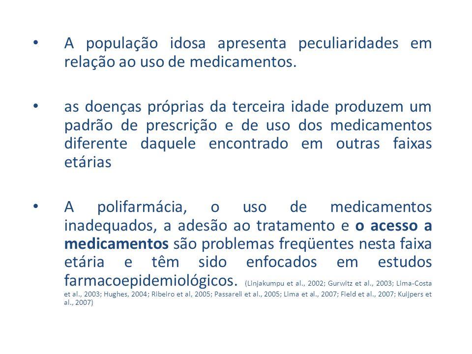 A população idosa apresenta peculiaridades em relação ao uso de medicamentos.