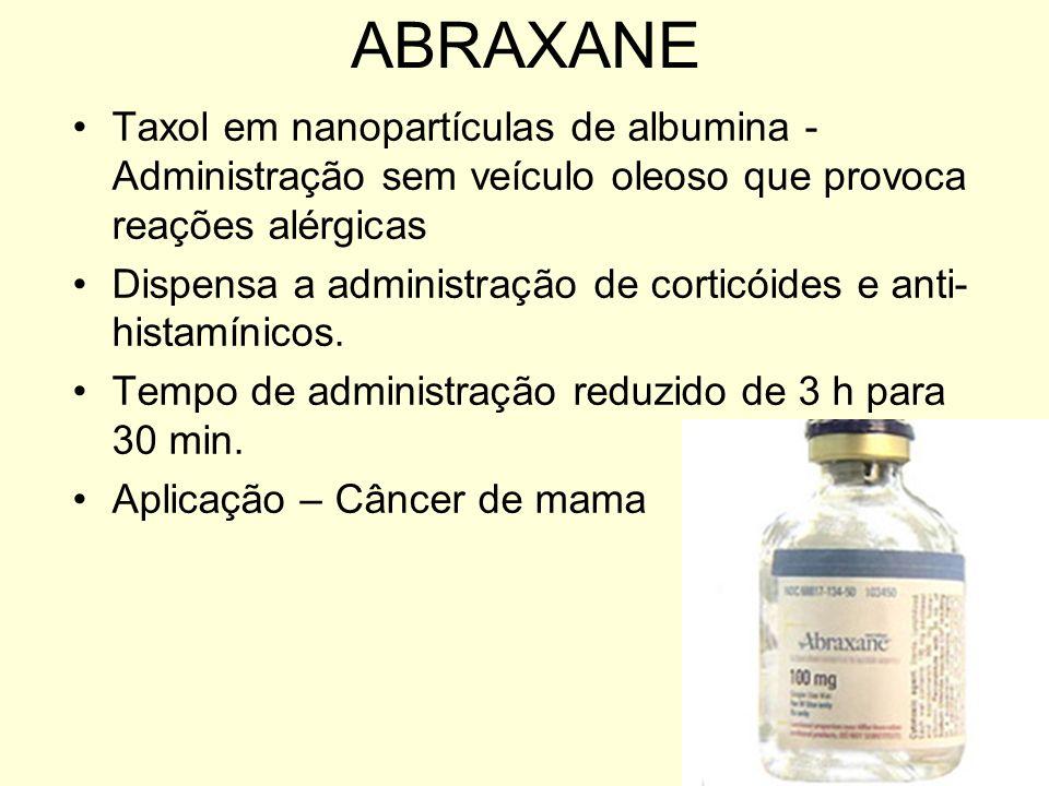 ABRAXANETaxol em nanopartículas de albumina - Administração sem veículo oleoso que provoca reações alérgicas.