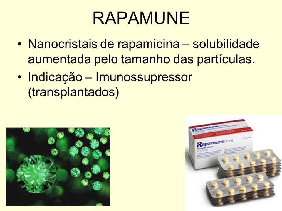 RAPAMUNE Nanocristais de rapamicina – solubilidade aumentada pelo tamanho das partículas.