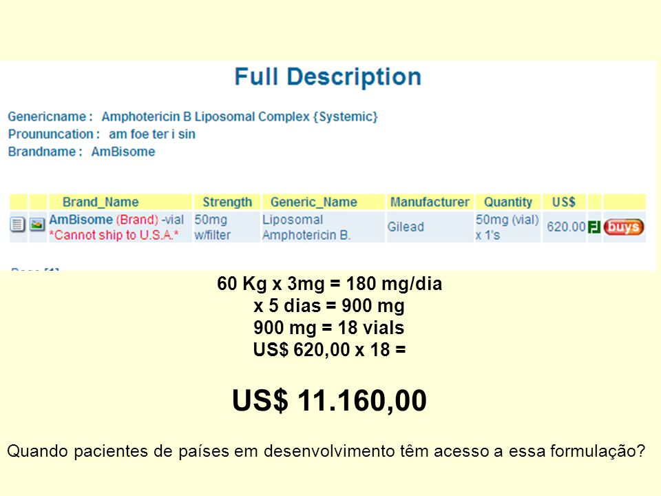 US$ 11.160,00 60 Kg x 3mg = 180 mg/dia x 5 dias = 900 mg