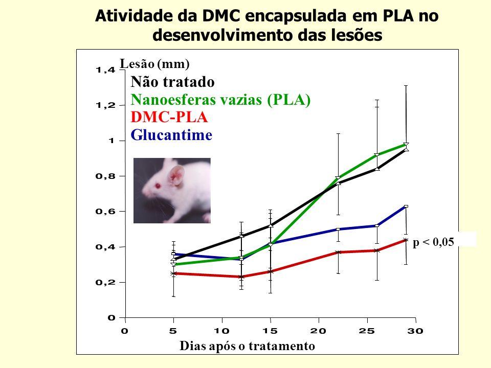 Atividade da DMC encapsulada em PLA no desenvolvimento das lesões